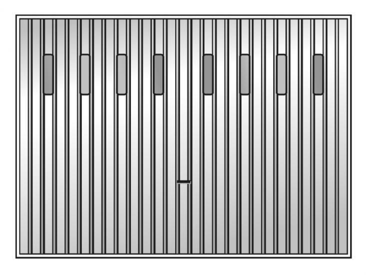 USP brama z przeszkleniem szklanymi świetlikami